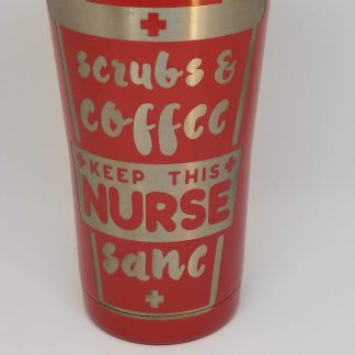 scrubs and coffee red cup