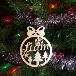 liam ornament on tree